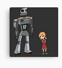 Cute Little Girl And Tall Metal Robot Cartoon Design Canvas Print