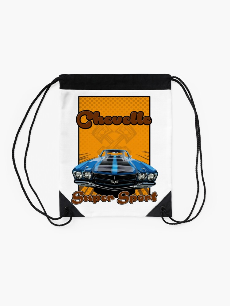 Alternate view of Super Sport chevelle muscle car Drawstring Bag