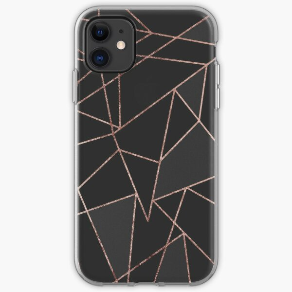 Chic Rose Gold Geometric Outline on Black Charcoal iPhone Soft Case