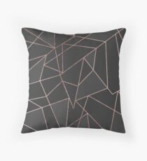 Chic Rose Gold Geometric Outline on Black Charcoal Throw Pillow
