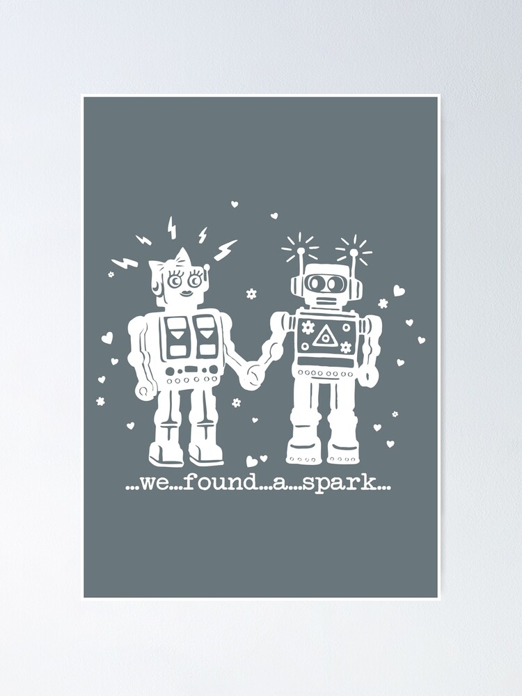 robot print quote travel wash bag grey and white toiletries bag- grey makeup bag We Found A Spark Robots in love hearts makeup bag