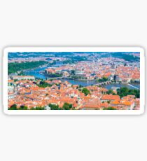 View of the Prague City on a summer day from Petrin Tower. Tilt-shift photography. Aerial view Sticker