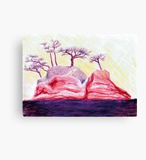 Drawing Day Purple Bonsai Island Canvas Print