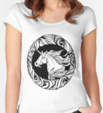 Image of unicorn's head in floral style frame. Women's Fitted Scoop T-Shirt