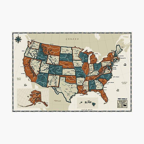 USA - Vintage Effect Map Photographic Print