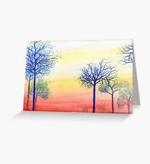 Sunset with Blue Trees Greeting Card