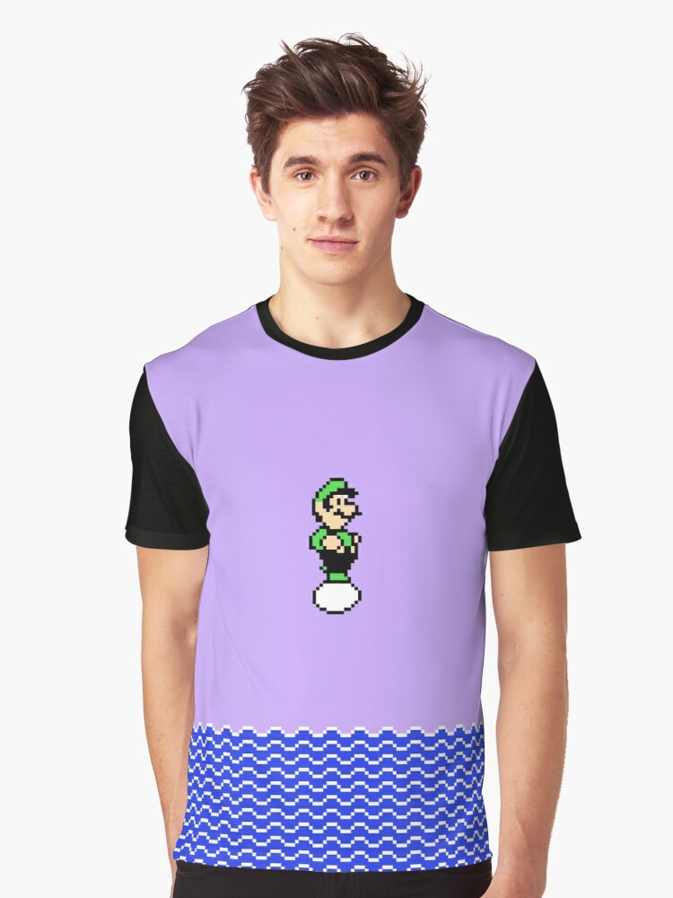 Luigi Floating on an Egg Over a Sea Graphic T-Shirt Front