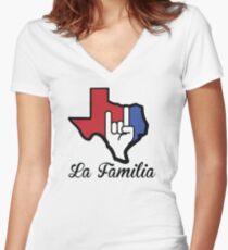 Texas-La Familia Women's Fitted V-Neck T-Shirt