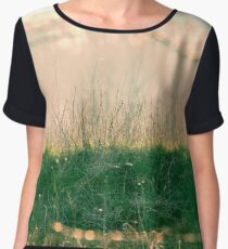 Green spring grass illuminated by the sun. Interesting shot behind the grid. Nature background Women's Chiffon Top
