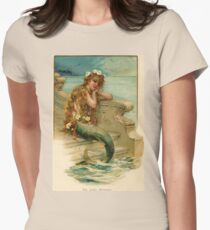 Vintage young mermaid from a bath salts advert Womens Fitted T-Shirt