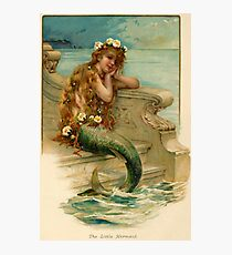 Vintage young mermaid from a bath salts advert Photographic Print