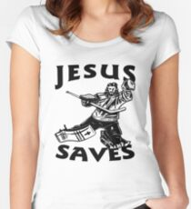 JESUS SAVES HOCKEY Women's Fitted Scoop T-Shirt