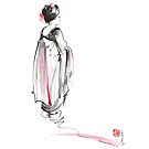 Geisha watercolor art print, japanese woman poster by Mariusz Szmerdt