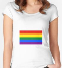 Rainbow LGBT Flag Women's Fitted Scoop T-Shirt