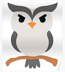 Night Owl Emoji Angry and Mean Face Poster