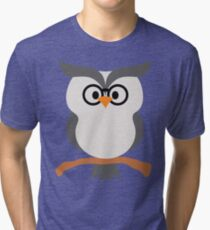 Night Owl Emoji Nerdy Noob Glasses Face Tri-blend T-Shirt