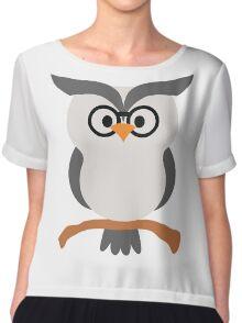 Night Owl Emoji Nerdy Noob Glasses Face Chiffon Top