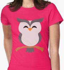 Night Owl Emoji Happy with Joy Face Womens Fitted T-Shirt