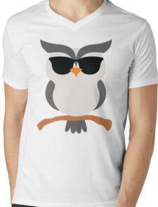 Night Owl Emoji Cool Sunglasses Face Mens V-Neck T-Shirt