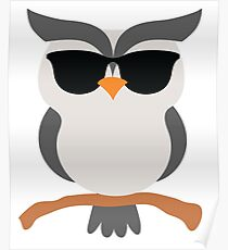 Night Owl Emoji Cool Sunglasses Face Poster