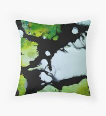 Challenger abstract art green black and white painting Throw Pillow