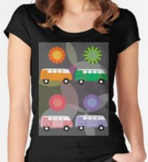 Multi-Colored Volkswagon Buses Women's Fitted Scoop T-Shirt