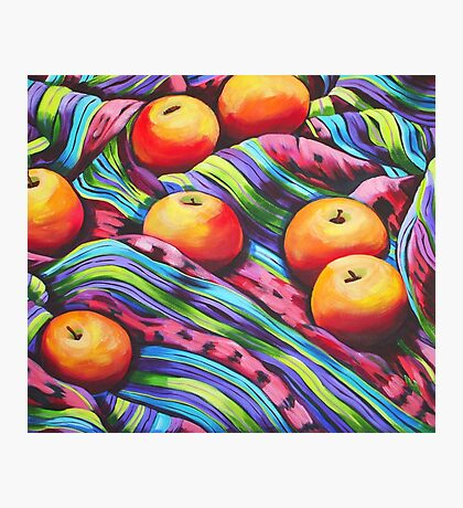 Fruit on Striped Cloth Photographic Print