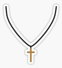 rosary necklace jewelry cross life faith christ cool logo design Sticker