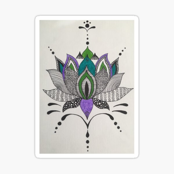 Zentangle Lotus in Purple and Green Sticker