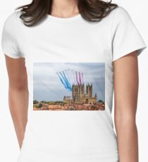 Red Arrows over Lincoln Cathedral Women's Fitted T-Shirt