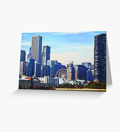 Chicago IL - Chicago Skyline and Navy Pier Greeting Card
