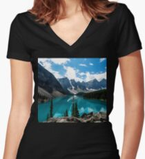 Lake Valley Scenery Women's Fitted V-Neck T-Shirt
