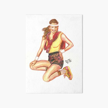 Sporty model in yellow top Art Board Print