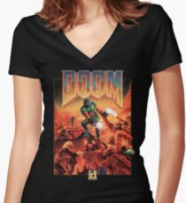 Doom - 1993 Poster PC FPS  Women's Fitted V-Neck T-Shirt