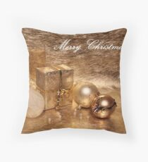Merry Christmas in Gold Throw Pillow