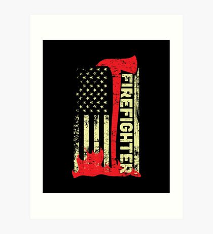 Firefighter Flag Art Prints Redbubble