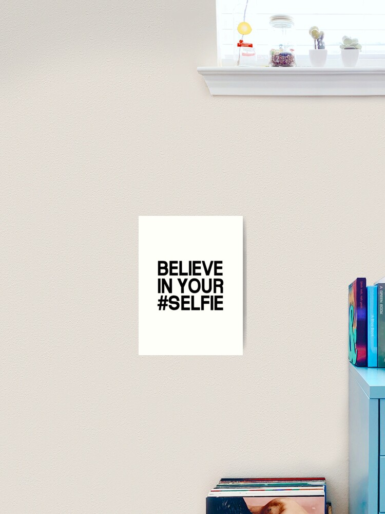 Believe Selfie art print Typography Posters Home decor gold glitter fun quirky minimalist work dictionary page Christmas friendship gift