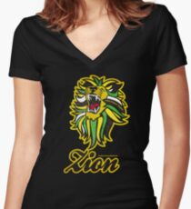 IRON LION ZION Women's Fitted V-Neck T-Shirt