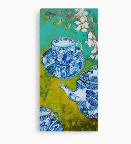Tea and ORchids Canvas Print