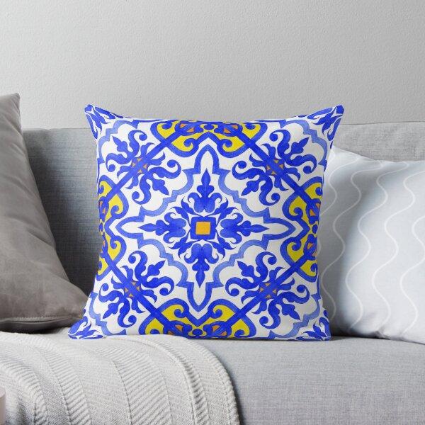 Portuguese azulejo tiles. Blue and white gorgeous seamless patterns. Throw Pillow