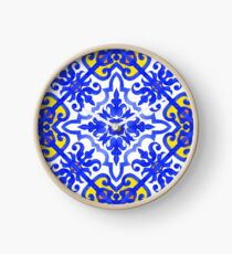 Portuguese azulejo tiles. Blue and white gorgeous seamless patterns. Clock