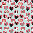 Cat hearts valentines day cat lady gifts for cat lovers cat breeds pet portraits by PetFriendly