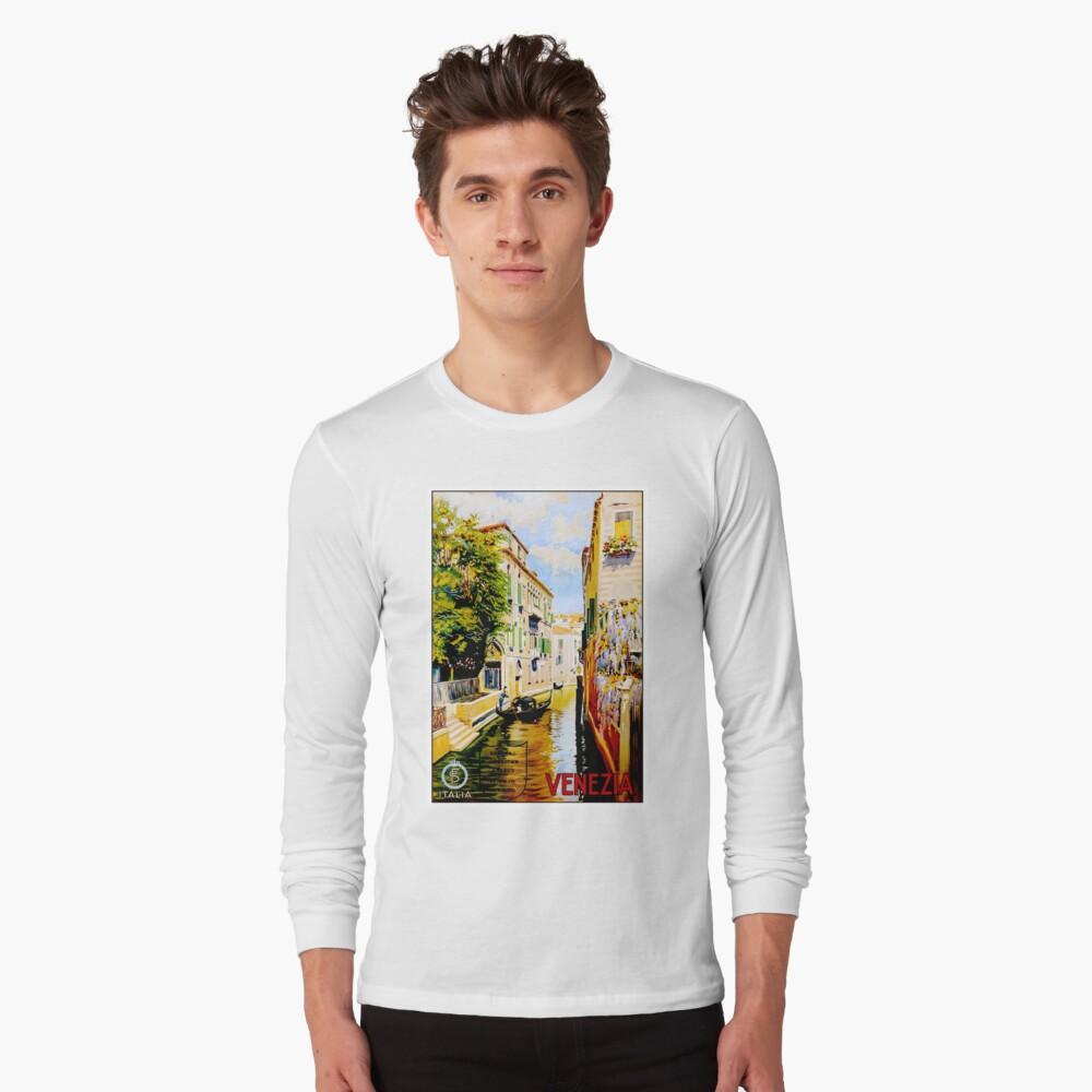 Venedig-Kanäle; Vintage Reise Werbung drucken Langarmshirt