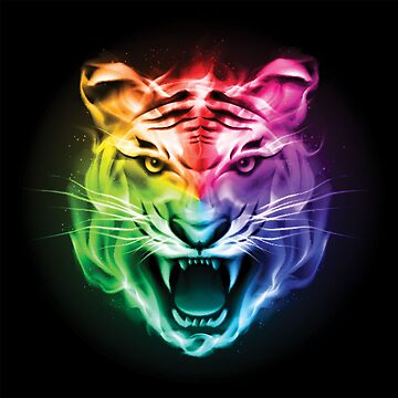 Coloured Tiger Face by 50Pxels