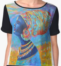 Black Woman Afro Africa African People Painting Blue Yellow Chiffon Top