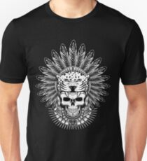 Native Aztec Jaguar Warrior Skull Headdress Unisex T-Shirt