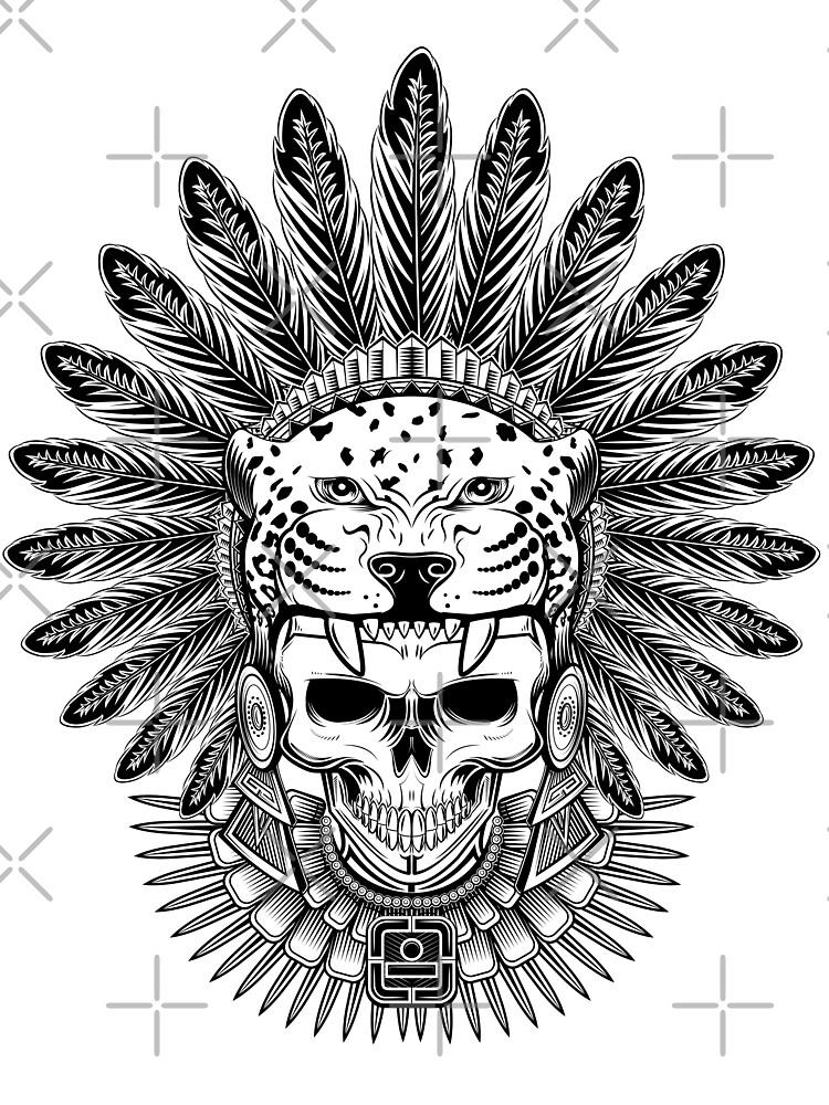 Aztec Jaguar Warrior Skull Native Headdress Baby One Piece By Sixthcycle Redbubble