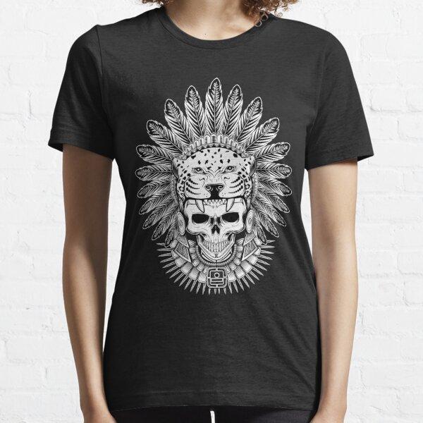 Crâne de guerrier jaguar aztèque - Coiffe amérindienne T-shirt essentiel