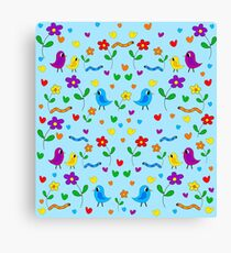 Blue cute birds and flowers pattern Canvas Print