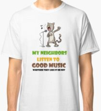 Music lovers, cool design with singing cat Classic T-Shirt
